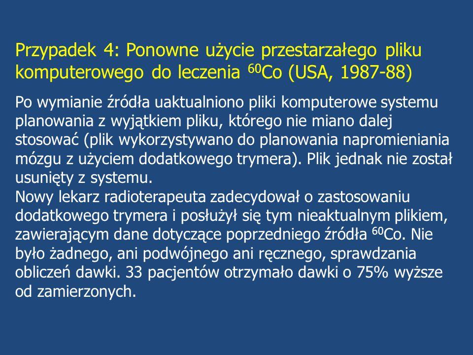 Przypadek 4: Ponowne użycie przestarzałego pliku komputerowego do leczenia 60Co (USA, 1987-88)