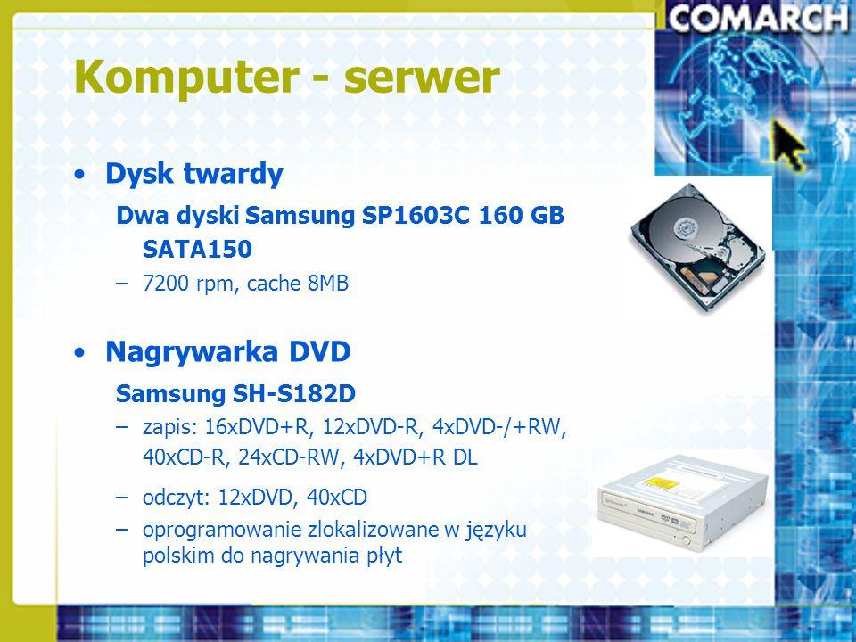 Komputer - serwer Dysk twardy Nagrywarka DVD