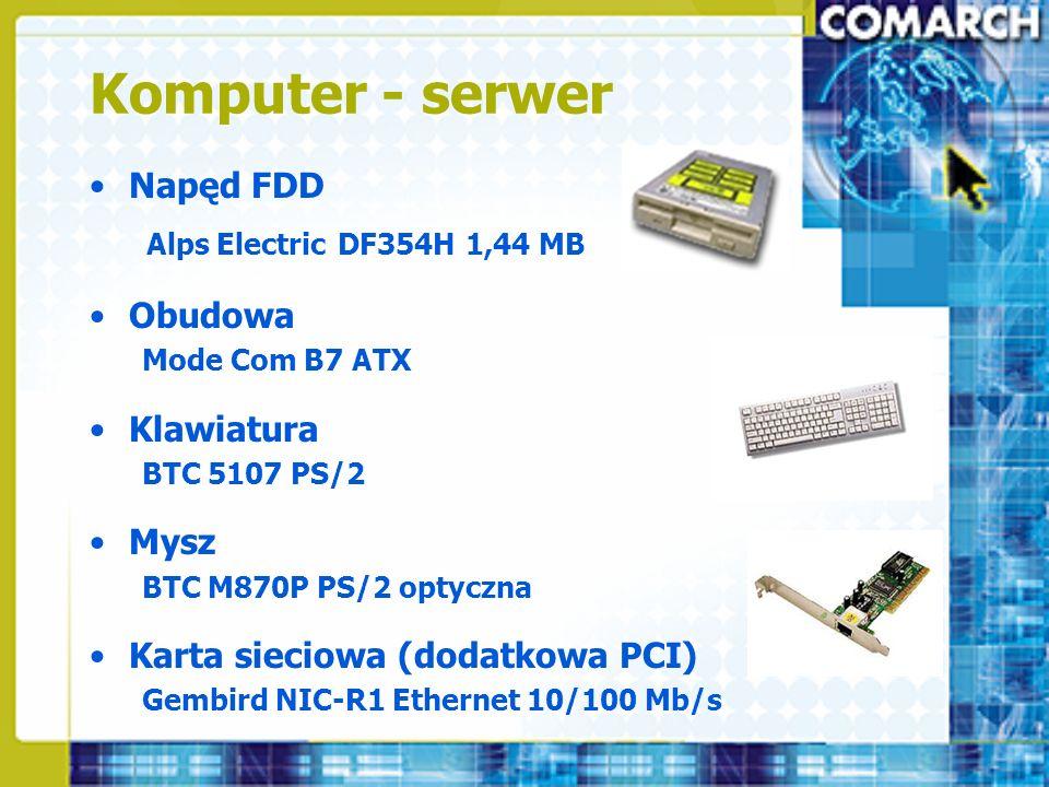 Komputer - serwer Napęd FDD Obudowa Klawiatura Mysz