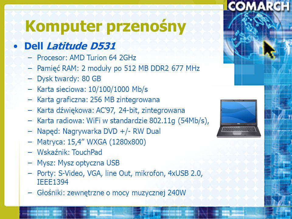 Komputer przenośny Dell Latitude D531 Procesor: AMD Turion 64 2GHz