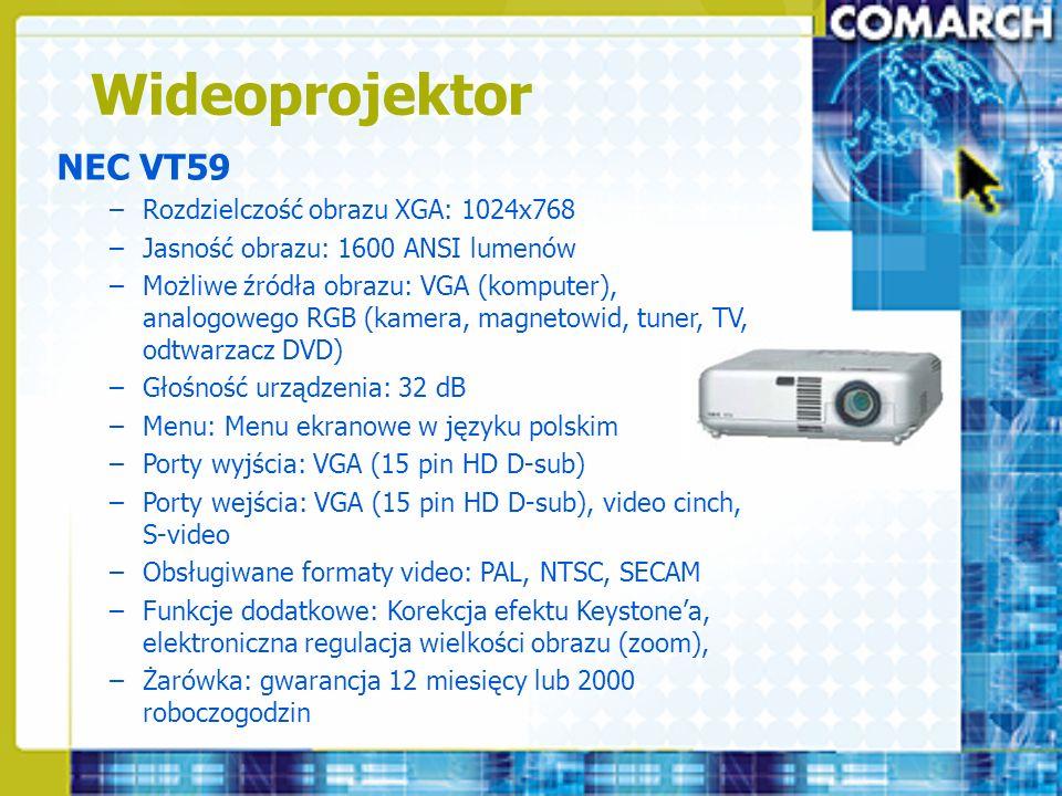 Wideoprojektor NEC VT59 Rozdzielczość obrazu XGA: 1024x768