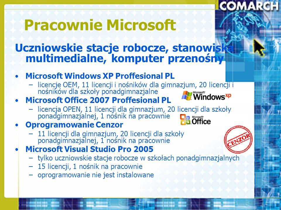 Pracownie Microsoft Uczniowskie stacje robocze, stanowiska multimedialne, komputer przenośny. Microsoft Windows XP Proffesional PL.