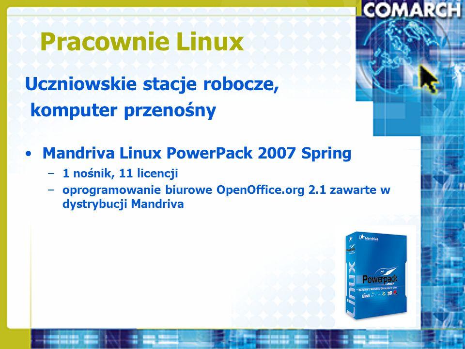 Pracownie Linux Uczniowskie stacje robocze, komputer przenośny