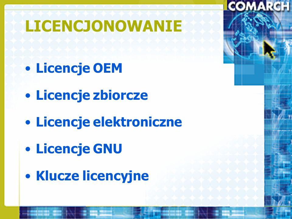 LICENCJONOWANIE Licencje OEM Licencje zbiorcze Licencje elektroniczne