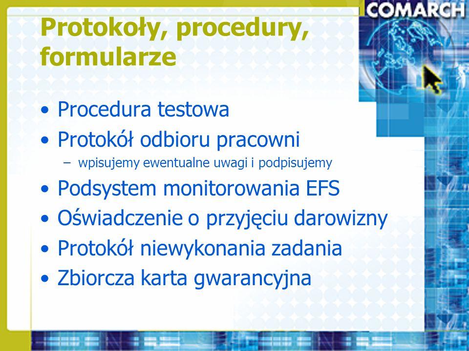 Protokoły, procedury, formularze