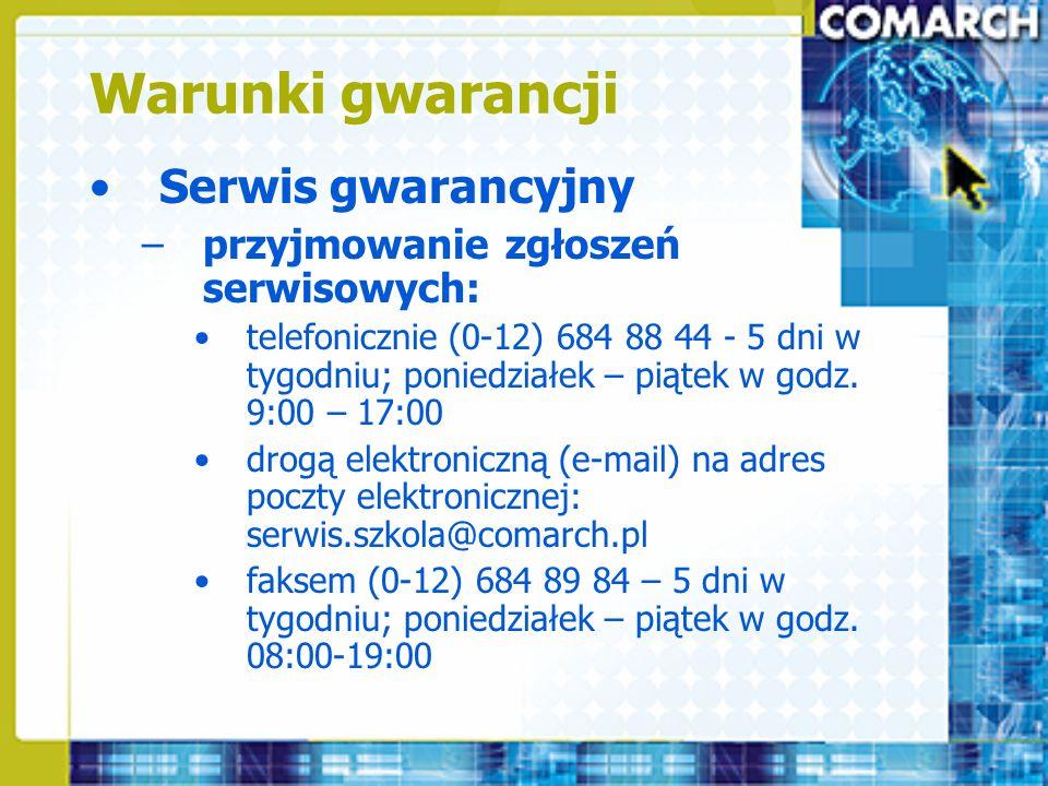 Warunki gwarancji Serwis gwarancyjny