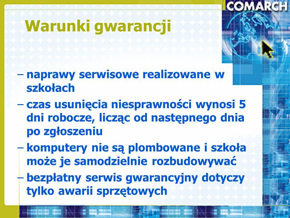 Warunki gwarancji naprawy serwisowe realizowane w szkołach