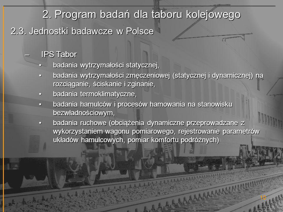 2. Program badań dla taboru kolejowego