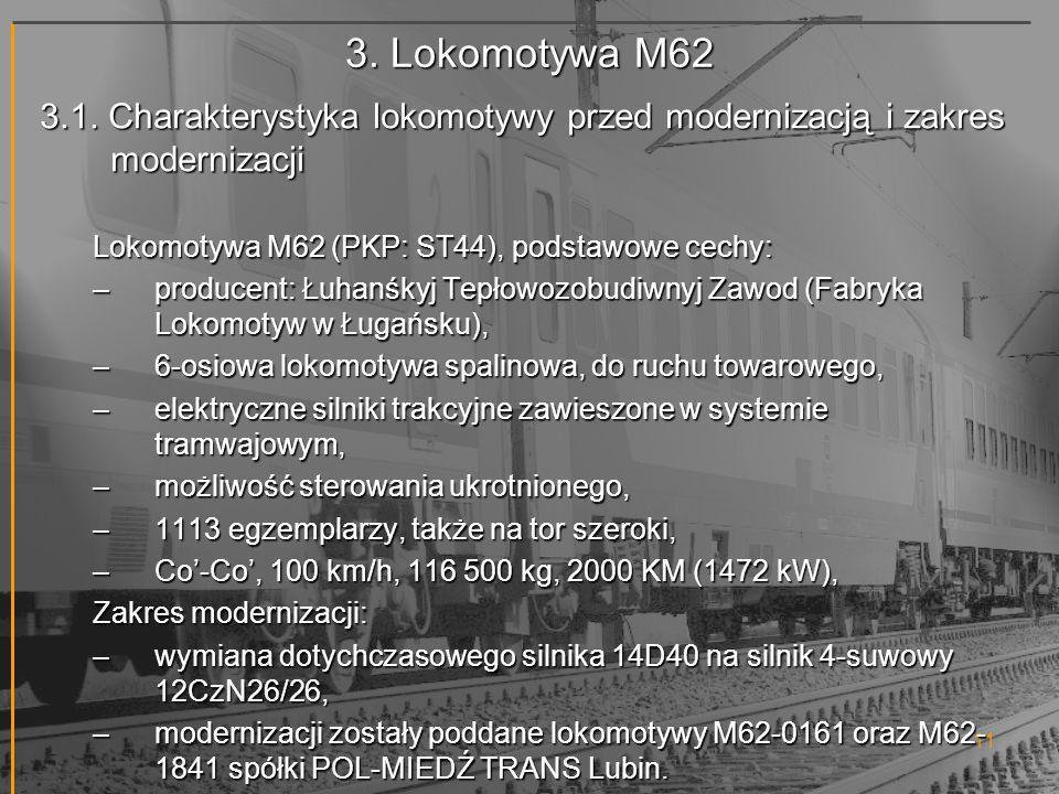 3. Lokomotywa M62 3.1. Charakterystyka lokomotywy przed modernizacją i zakres modernizacji. Lokomotywa M62 (PKP: ST44), podstawowe cechy: