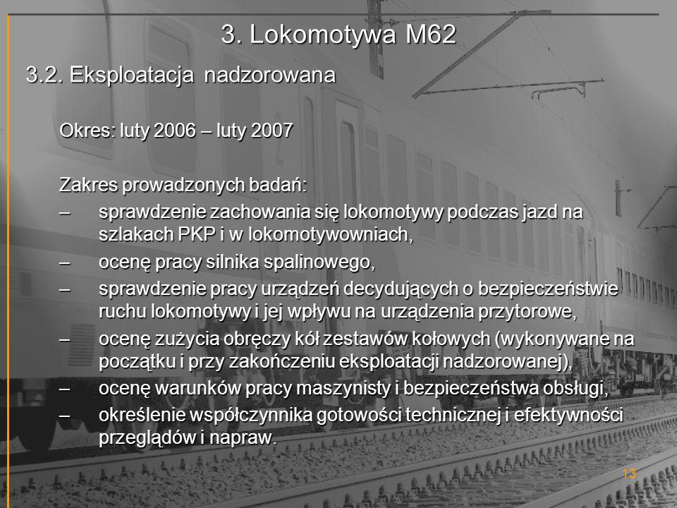 3. Lokomotywa M62 3.2. Eksploatacja nadzorowana