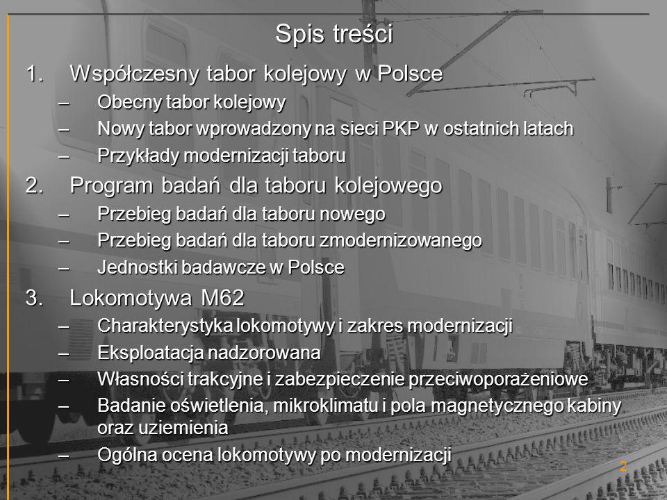 Spis treści Współczesny tabor kolejowy w Polsce