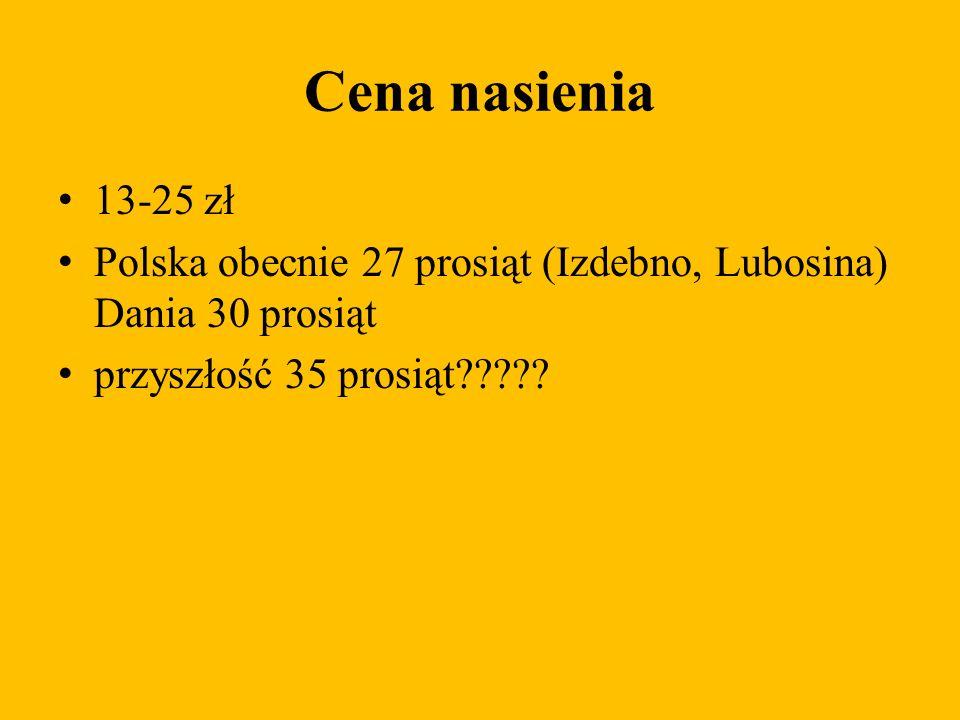 Cena nasienia 13-25 zł. Polska obecnie 27 prosiąt (Izdebno, Lubosina) Dania 30 prosiąt.