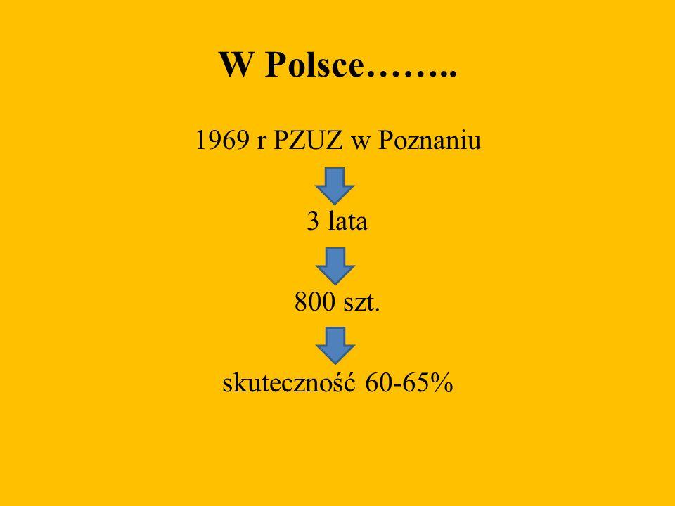 1969 r PZUZ w Poznaniu 3 lata 800 szt. skuteczność 60-65%