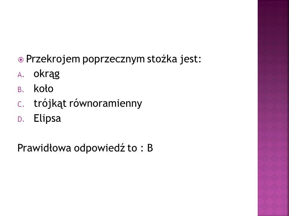 Przekrojem poprzecznym stożka jest: