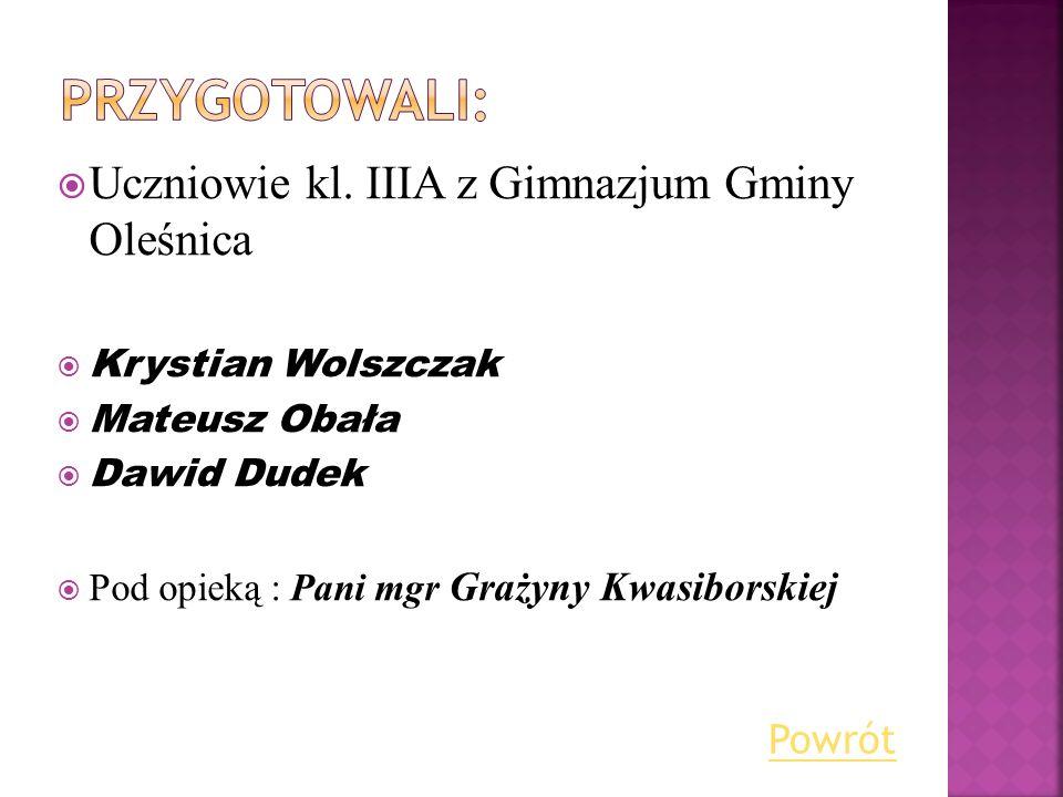 Przygotowali: Uczniowie kl. IIIA z Gimnazjum Gminy Oleśnica Powrót