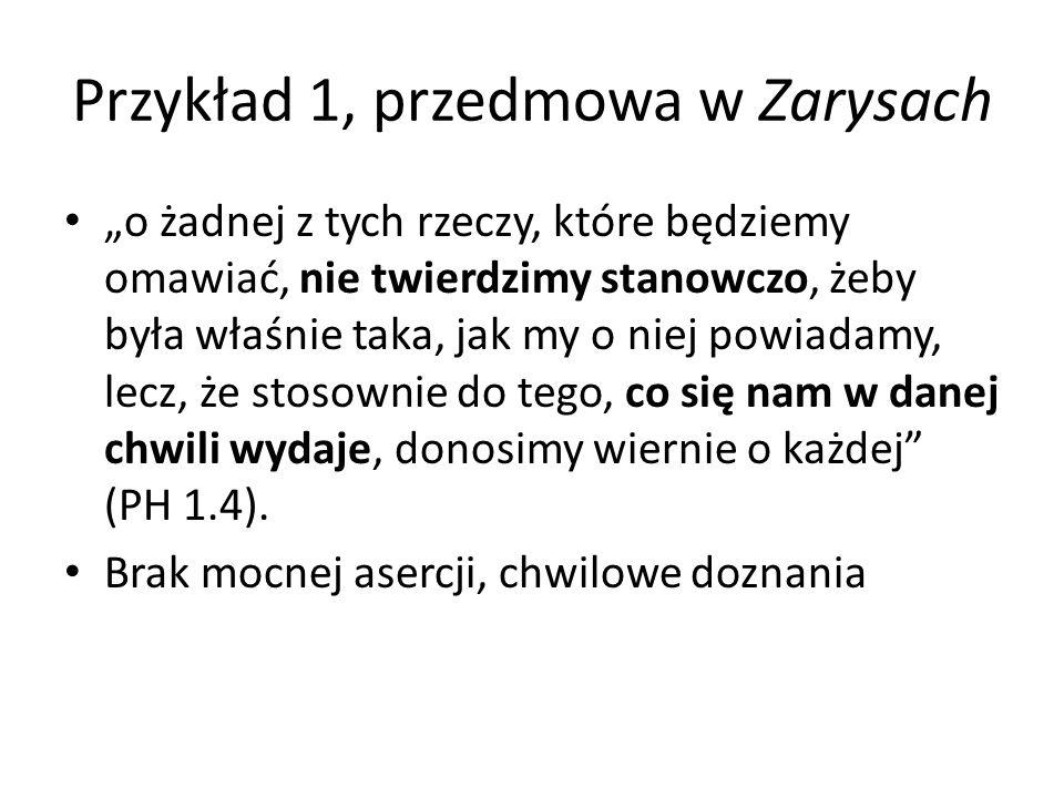 Przykład 1, przedmowa w Zarysach