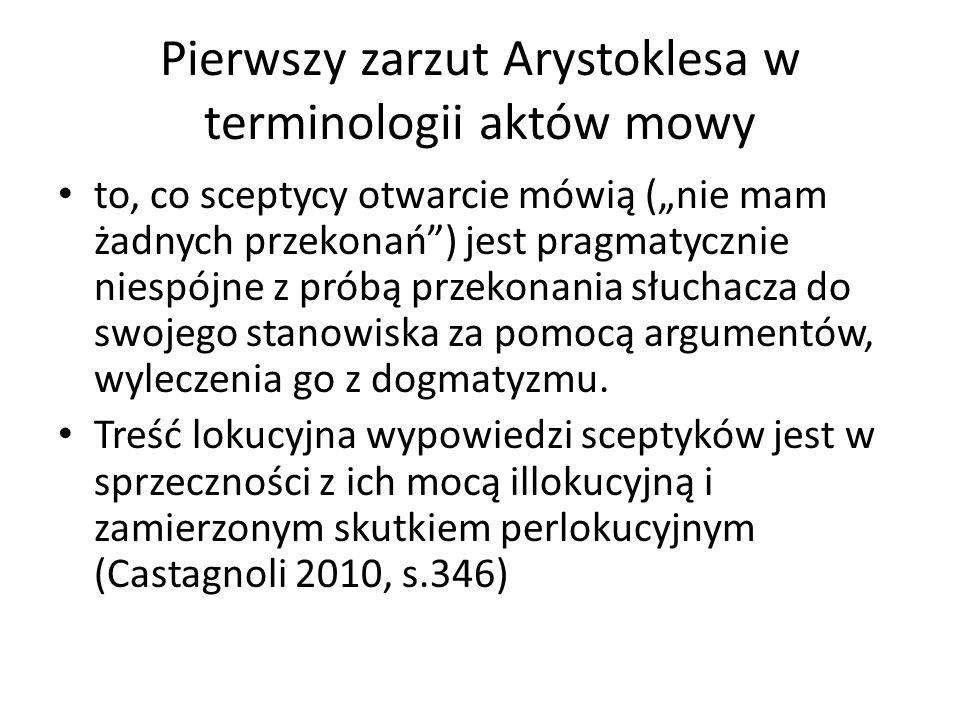 Pierwszy zarzut Arystoklesa w terminologii aktów mowy