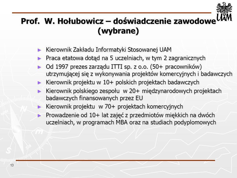 Prof. W. Hołubowicz – doświadczenie zawodowe (wybrane)