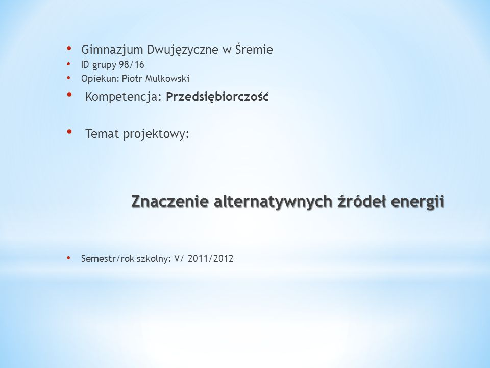 Znaczenie alternatywnych źródeł energii