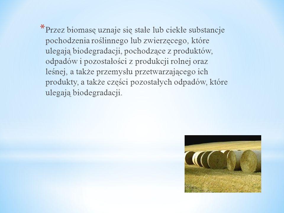 Przez biomasę uznaje się stałe lub ciekłe substancje pochodzenia roślinnego lub zwierzęcego, które ulegają biodegradacji, pochodzące z produktów, odpadów i pozostałości z produkcji rolnej oraz leśnej, a także przemysłu przetwarzającego ich produkty, a także części pozostałych odpadów, które ulegają biodegradacji.
