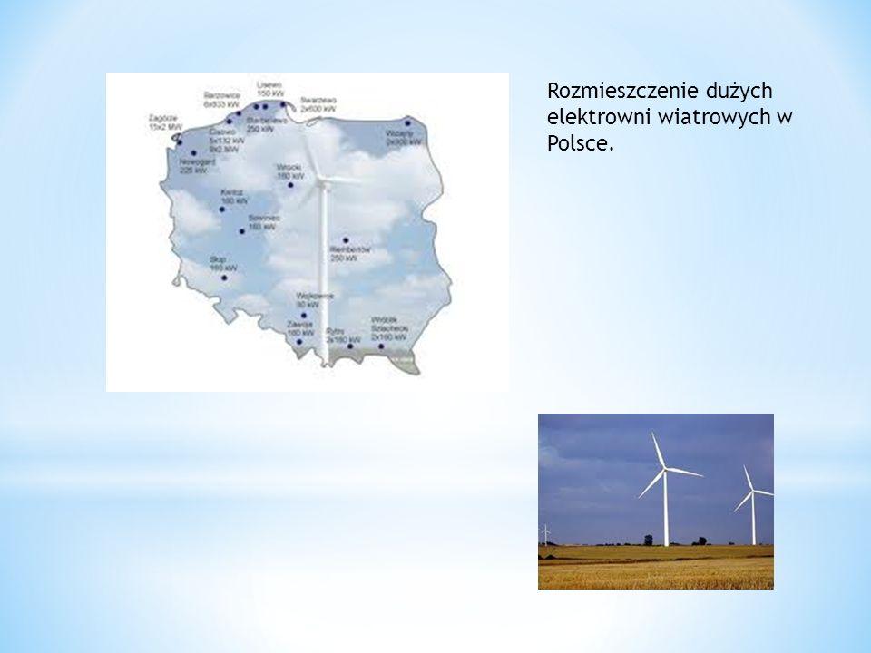 Rozmieszczenie dużych elektrowni wiatrowych w Polsce.
