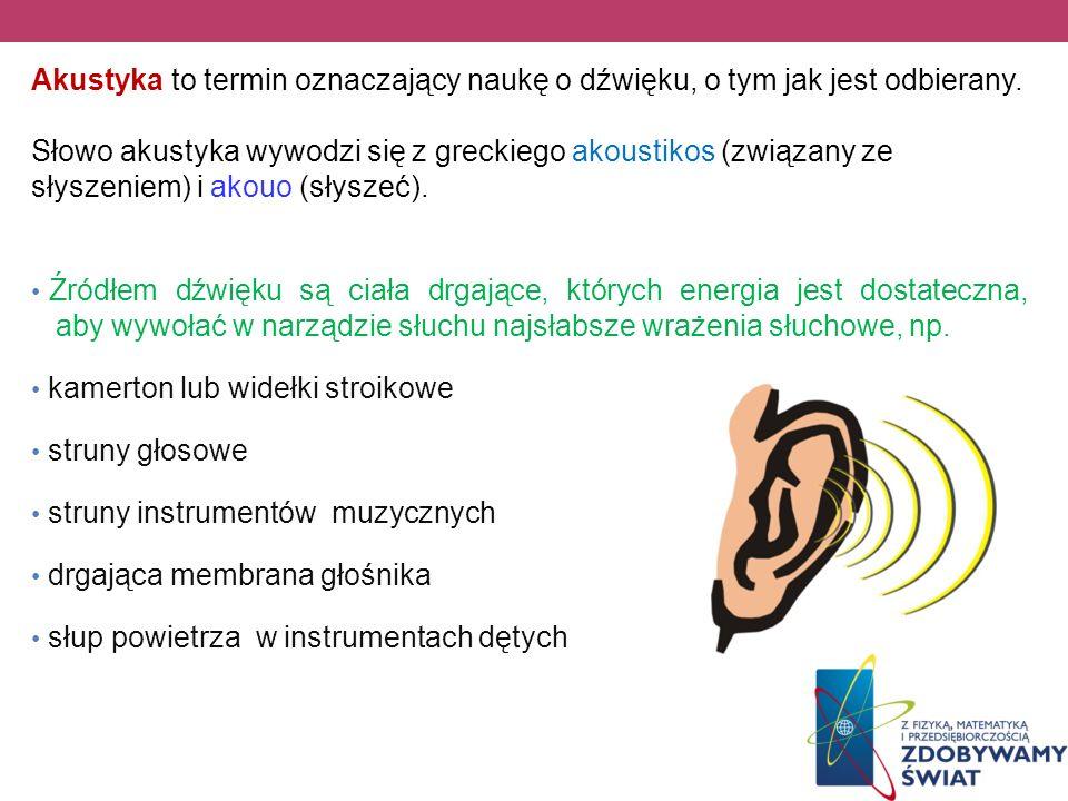 Akustyka to termin oznaczający naukę o dźwięku, o tym jak jest odbierany.