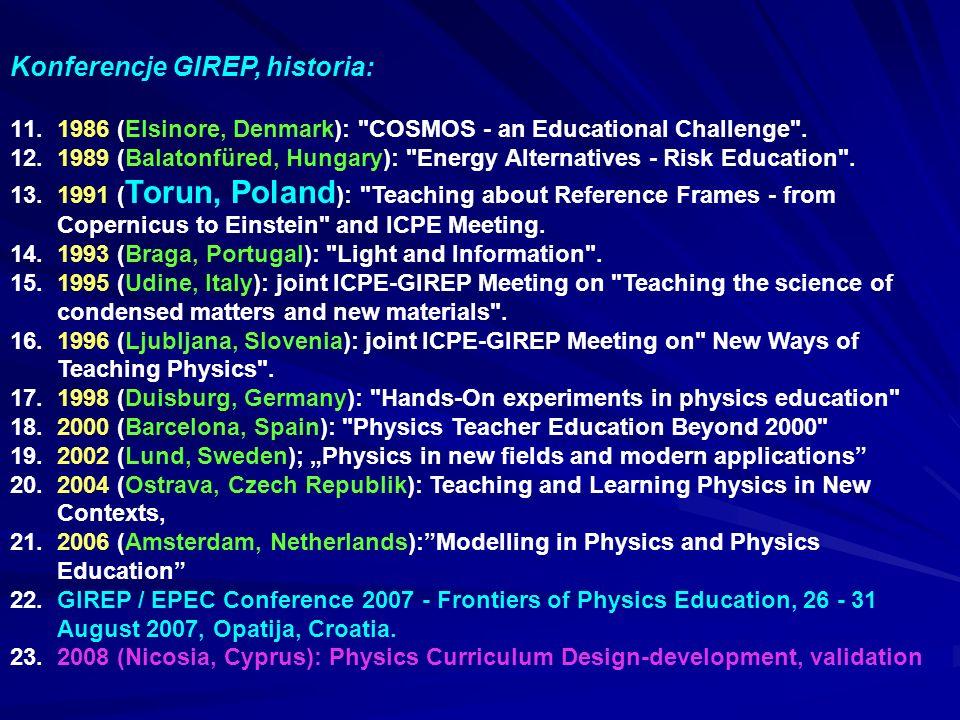 Konferencje GIREP, historia: