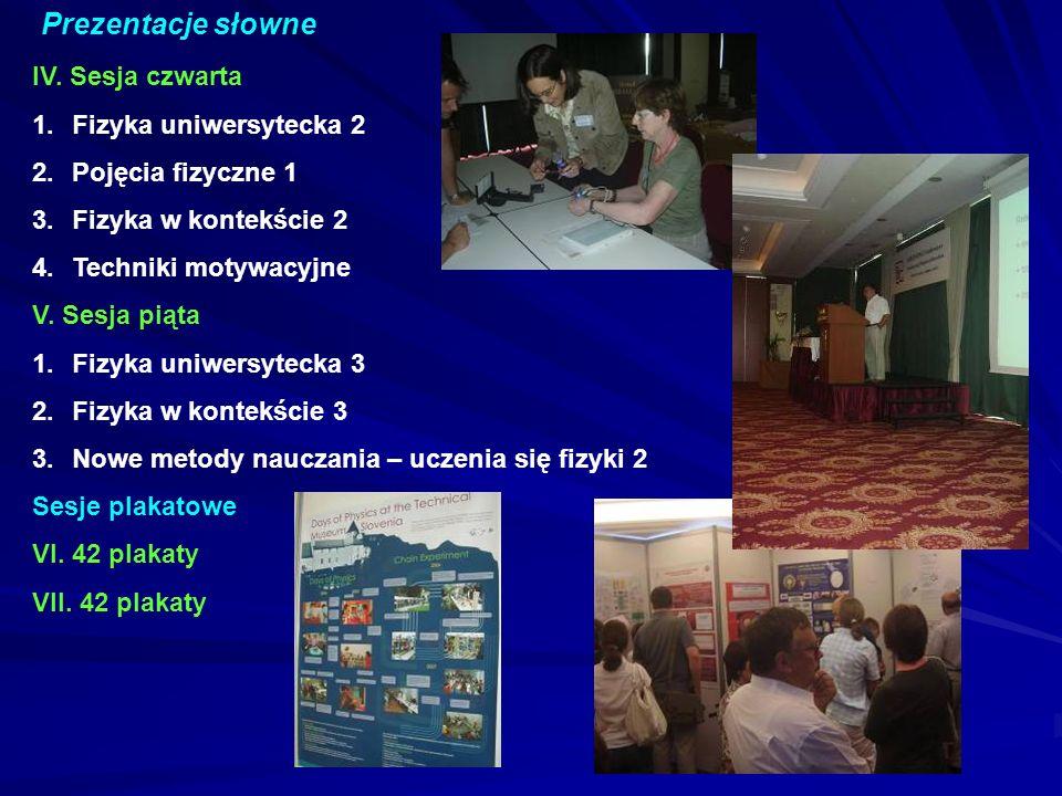 Prezentacje słowne IV. Sesja czwarta Fizyka uniwersytecka 2