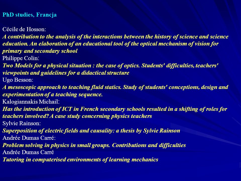 PhD studies, Francja Cécile de Hosson: