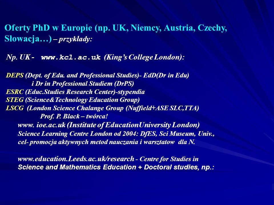 Oferty PhD w Europie (np