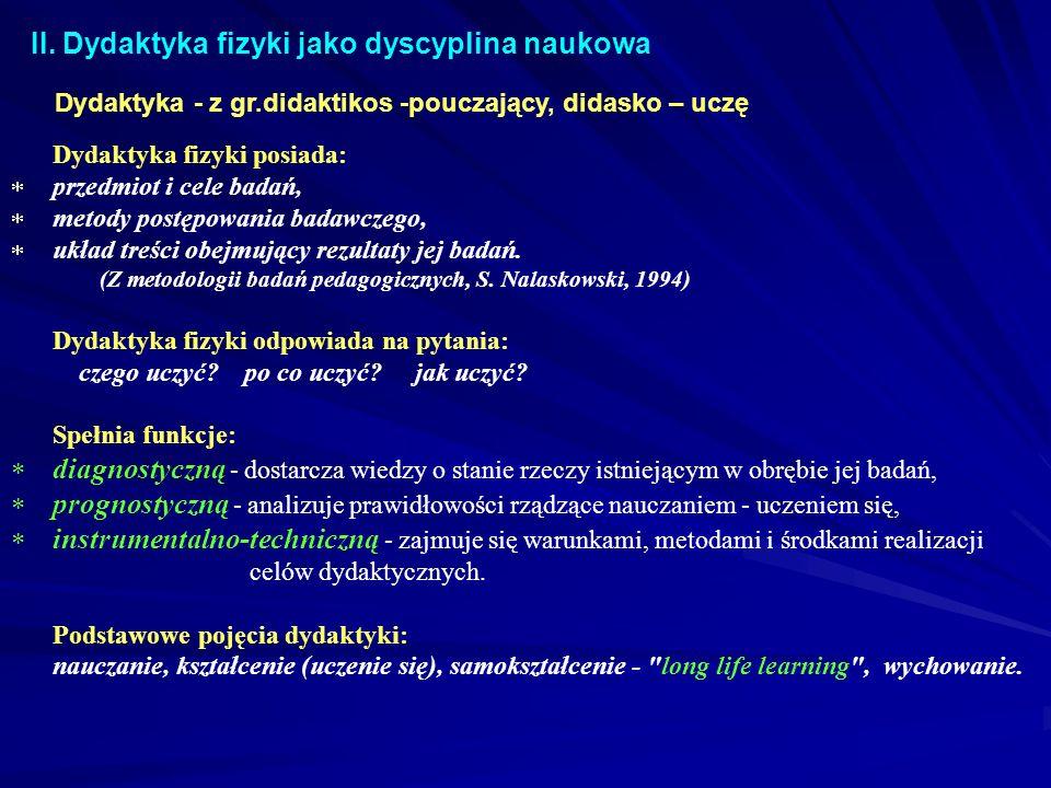 II. Dydaktyka fizyki jako dyscyplina naukowa