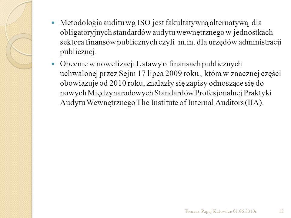 Metodologia auditu wg ISO jest fakultatywną alternatywą dla obligatoryjnych standardów audytu wewnętrznego w jednostkach sektora finansów publicznych czyli m.in. dla urzędów administracji publicznej.