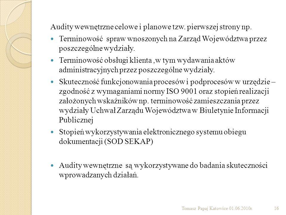 Audity wewnętrzne celowe i planowe tzw. pierwszej strony np.