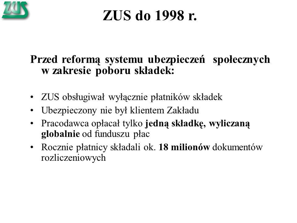 ZUS do 1998 r. Przed reformą systemu ubezpieczeń społecznych w zakresie poboru składek: ZUS obsługiwał wyłącznie płatników składek.