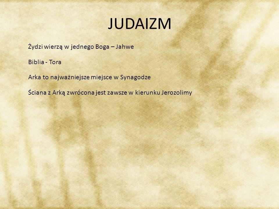 JUDAIZM Żydzi wierzą w jednego Boga – Jahwe Biblia - Tora