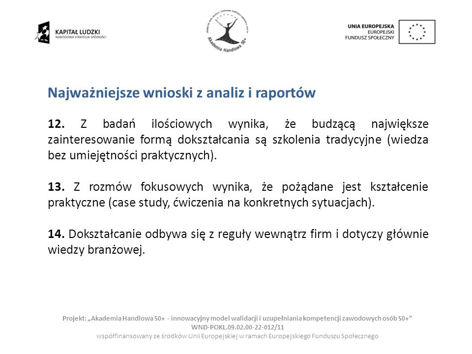 Najważniejsze wnioski z analiz i raportów