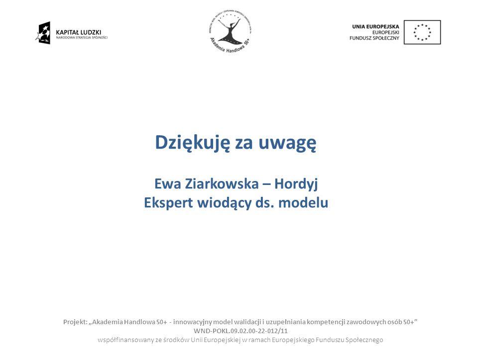 Ewa Ziarkowska – Hordyj Ekspert wiodący ds. modelu