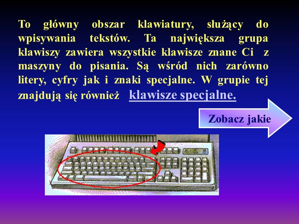 To główny obszar klawiatury, służący do wpisywania tekstów