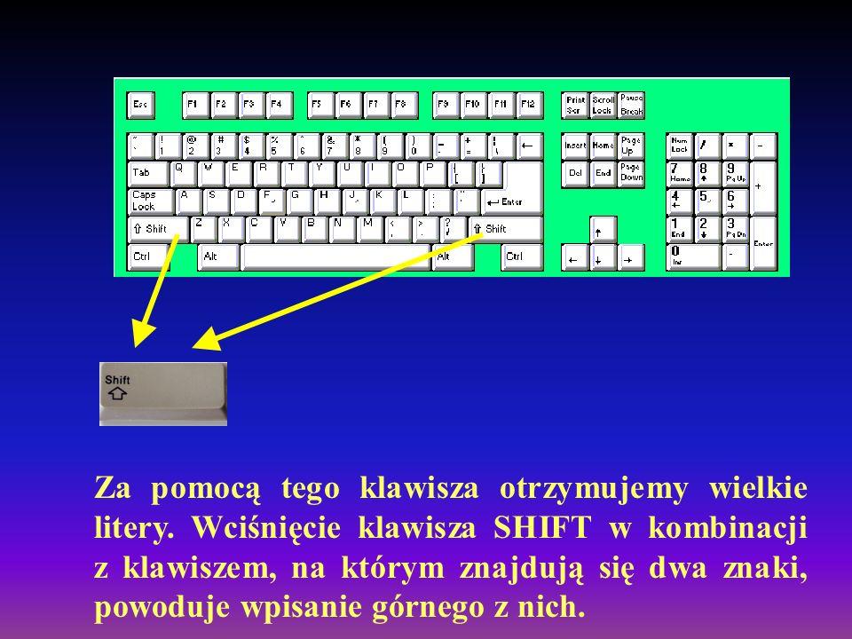 Za pomocą tego klawisza otrzymujemy wielkie litery