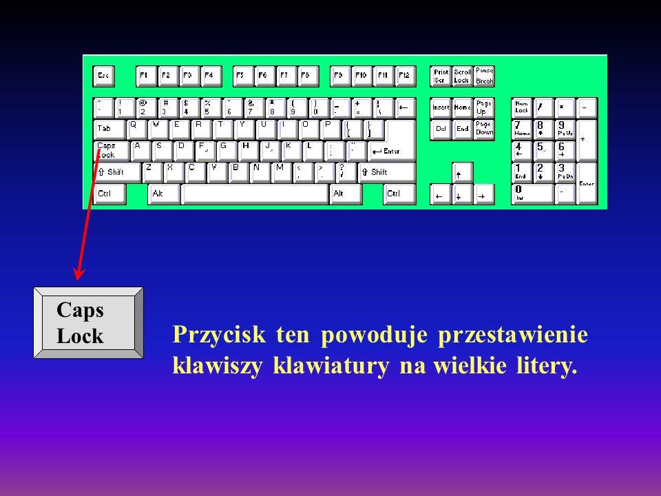 Caps Lock Przycisk ten powoduje przestawienie klawiszy klawiatury na wielkie litery.