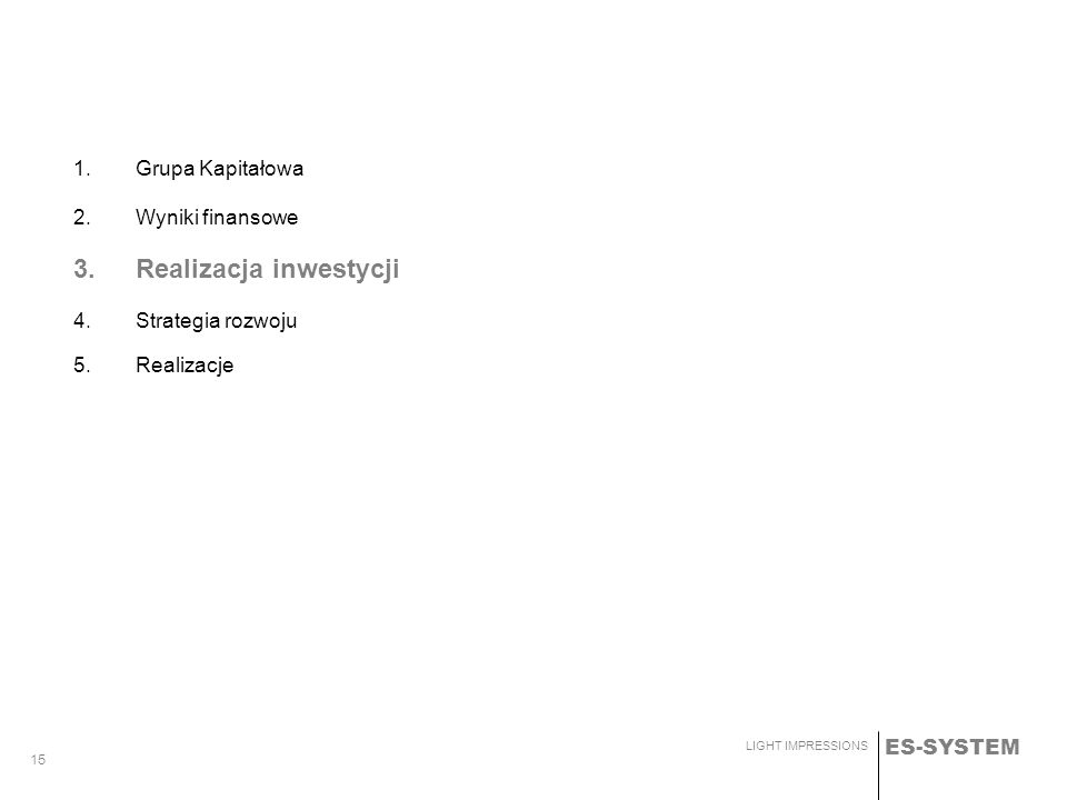 3. Realizacja inwestycji