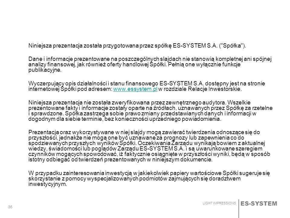 Niniejsza prezentacja została przygotowana przez spółkę ES-SYSTEM S. A