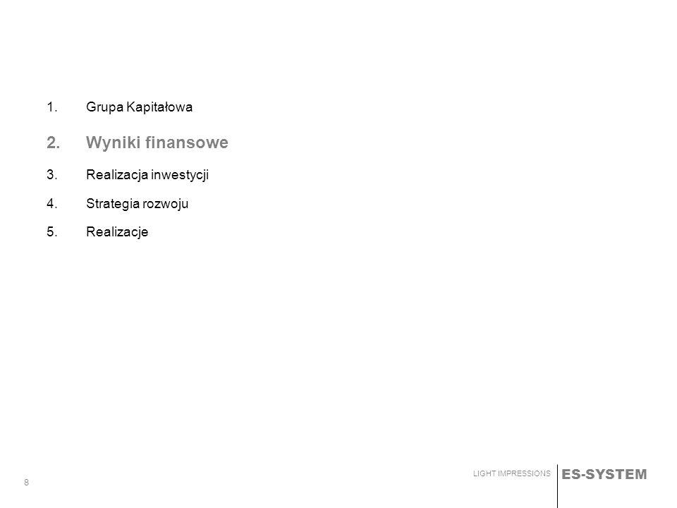 2. Wyniki finansowe 1. Grupa Kapitałowa 3. Realizacja inwestycji