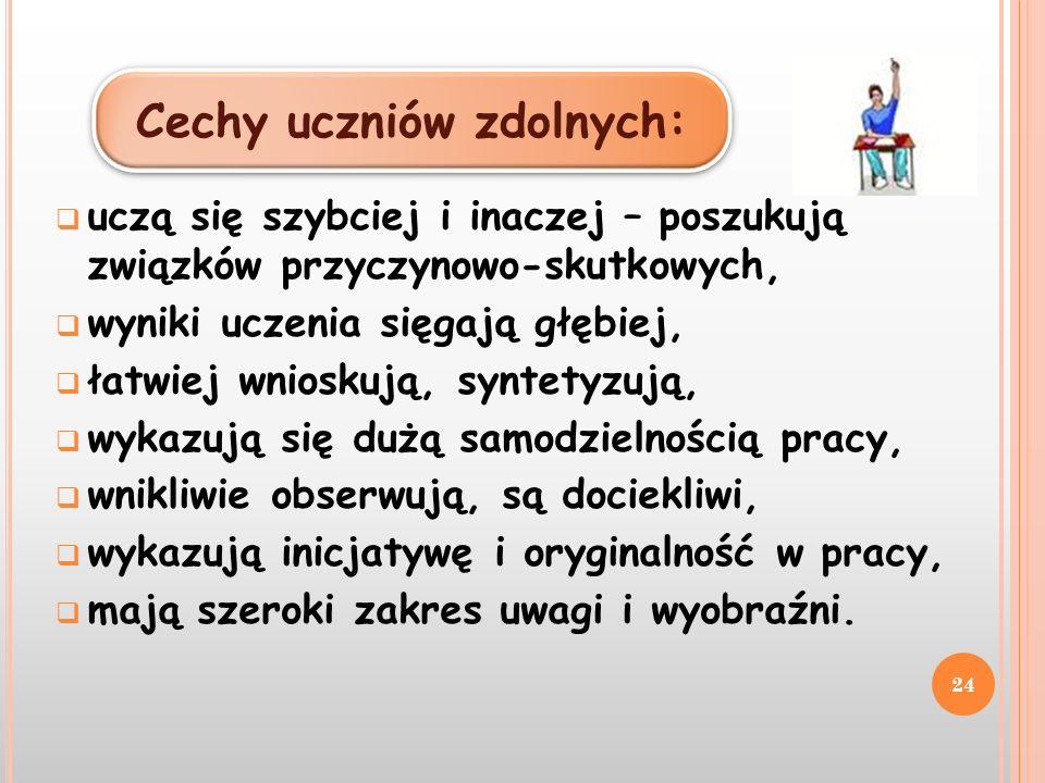Cechy uczniów zdolnych: