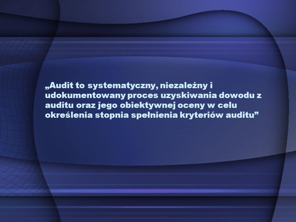 """""""Audit to systematyczny, niezależny i udokumentowany proces uzyskiwania dowodu z auditu oraz jego obiektywnej oceny w celu określenia stopnia spełnienia kryteriów auditu"""
