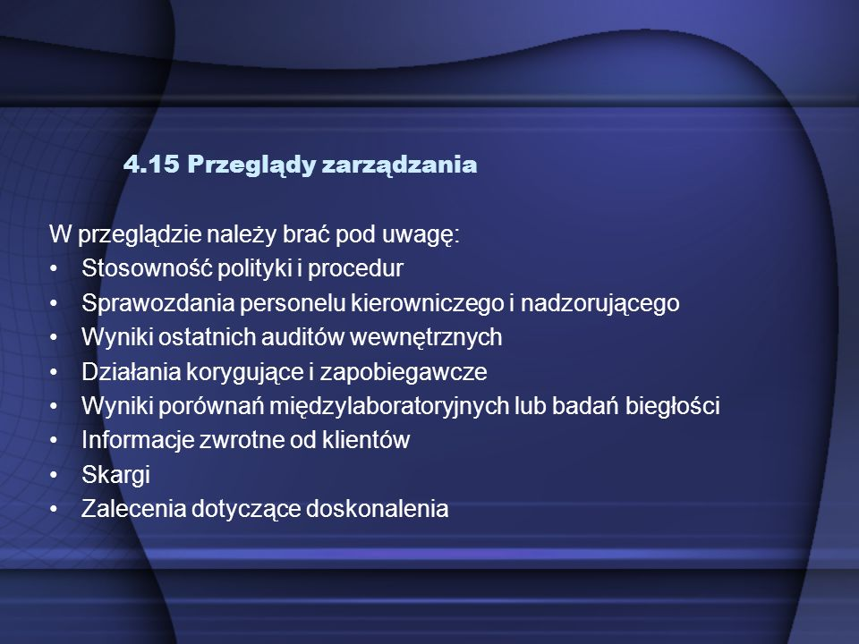 4.15 Przeglądy zarządzania