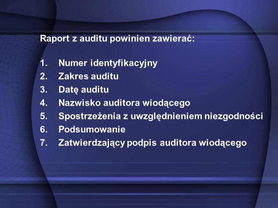Raport z auditu powinien zawierać: