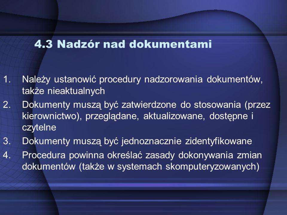 4.3 Nadzór nad dokumentami