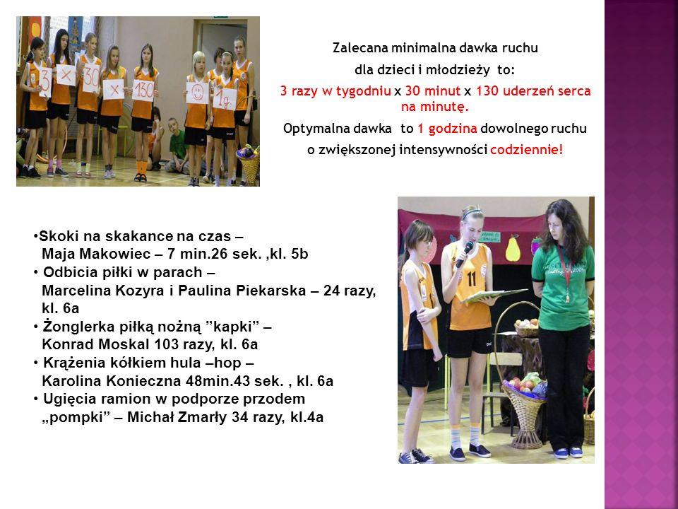 Skoki na skakance na czas – Maja Makowiec – 7 min.26 sek. ,kl. 5b