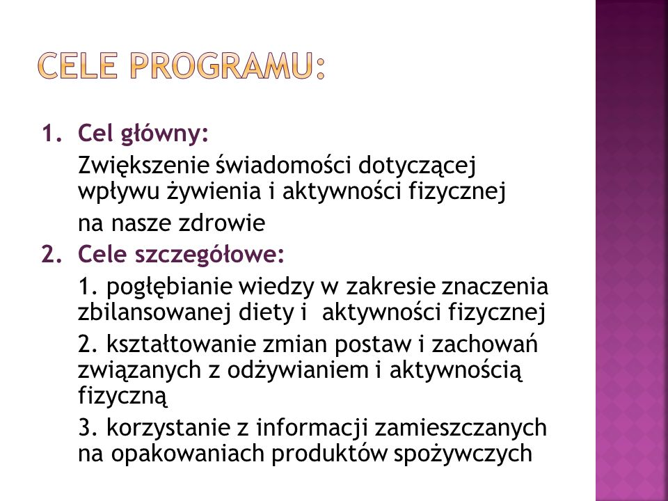 Cele programu: